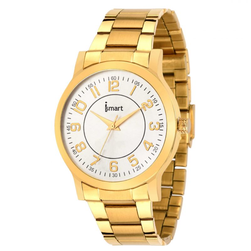 Buy Ismart Men & Boys Golden Analog Wrist Watch online