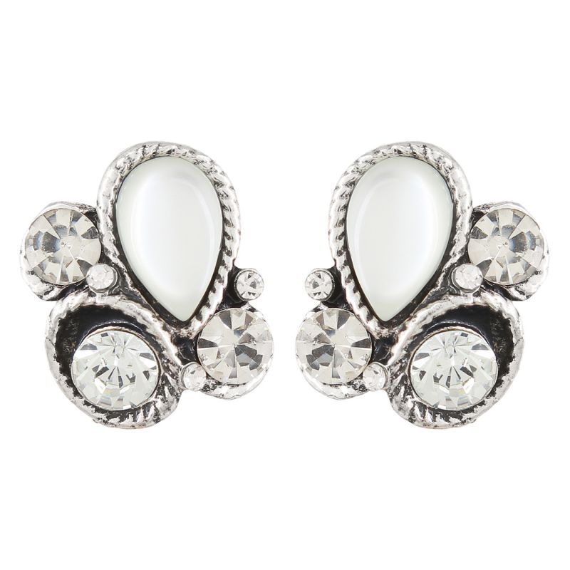 Buy Firstblush Diva Style Silver Crystal And Stone Clip On Earrings