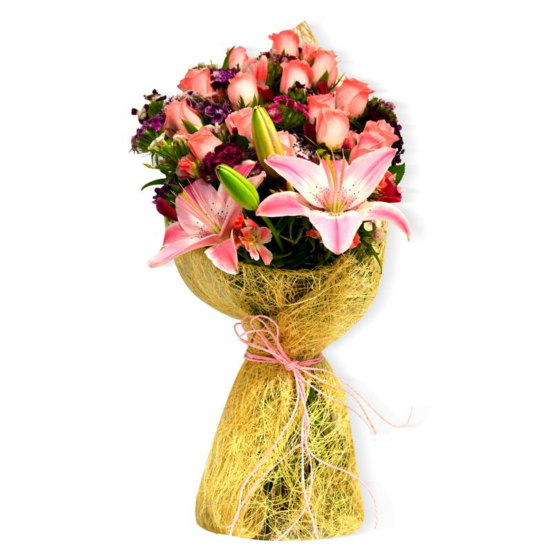 Buy Flaberry Stylish Rose & Lilies Bunch online