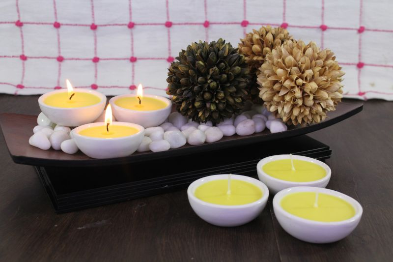 Buy Hosley Set Of 6 Highly Scented Citronella Ceramic Diyas (yellow) online