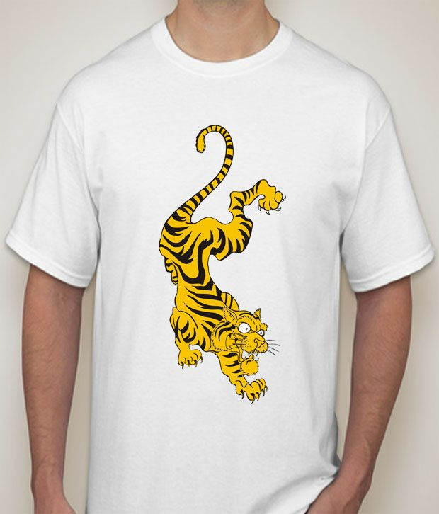 Buy Tiger  white  T-shirt for Men online