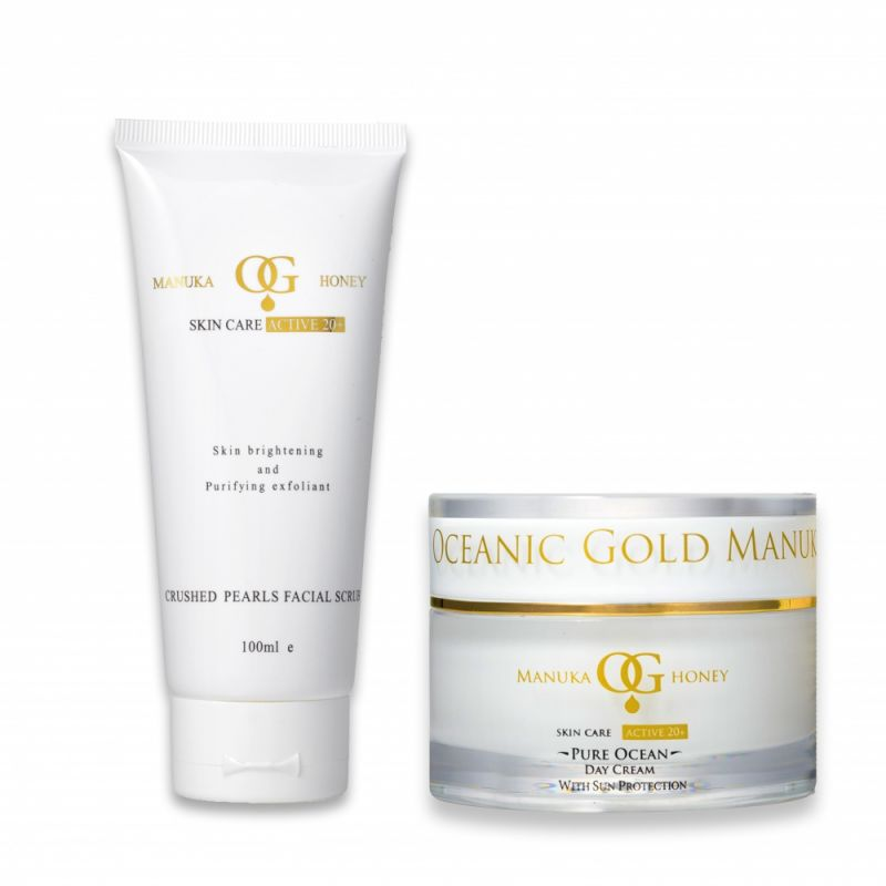 Buy Oceanic Gold Ocean Facial Scrub With Crushed Pearls &pure Ocean Day Cream With Sun Protection online