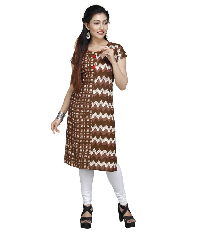 Buy Vedika Creations Designer Cotton & Rayon Brown Kurti online