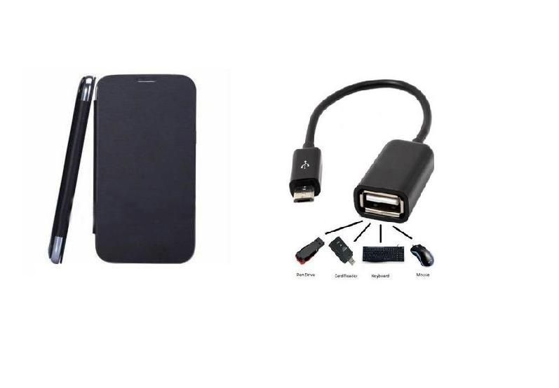 finest selection 57c33 73022 Buy Black Flip Cover And Otg Cable Of Samsung Galaxy S4 Mini I9192 ...
