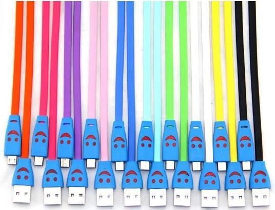 Buy Genuine Micro USB Smiley Lightening Data Cable For Samsung Mega 5.8 I9150/mega 6.3 I9200/galaxy Nexus I9250/galaxy Mini 2 S6500/mini S5570 online
