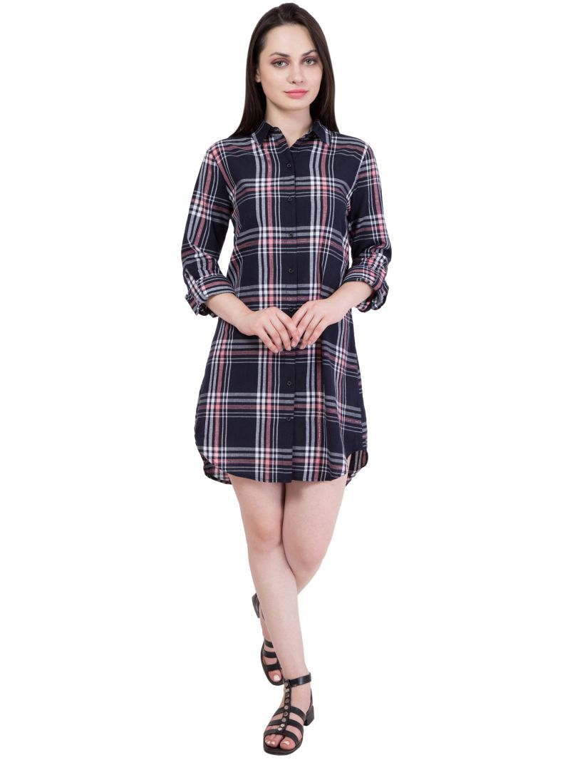 Buy Hive91 Long Black Shirts for Women, Checkered Shirts Dress in Cotton Fabric online
