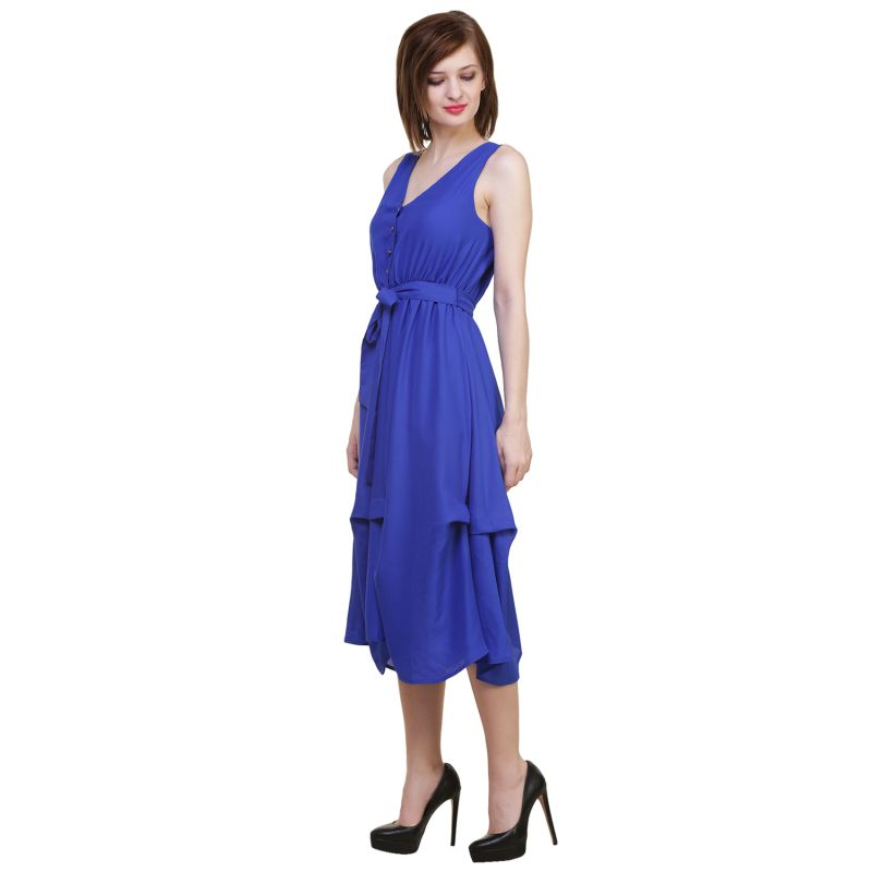 Buy Hive91 Blue Fit and Flare Maxi Length Dress  Polyster Casual Dress for Women online