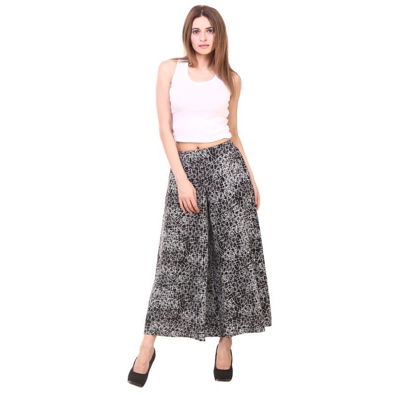 Buy Hive91 Plazzo Pants for Women Black & White Printed Poly Crepe online