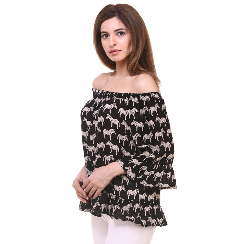 ef3f853955b3b8 Hive91 Off Shoulder Tops for Women (Black Printed) Rayon Fabric. 46% OFF