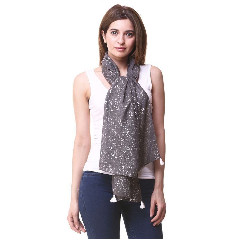 Buy Hive91 Scarf for Women in Grey Color Poly Cotton size online