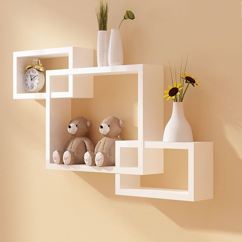 Buy Woodworld Wooden Intersecting Storage Wall Shelves Rack 3 White online