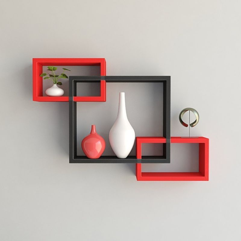 Buy Woodworld Wooden Intersecting Storage Wall Shelves Rack 3 Black And Red  Online | Best Prices In India: Rediff Shopping
