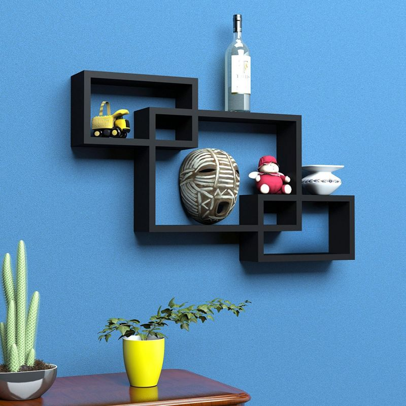 Buy Woodworld Wooden Intersecting Storage Wall Shelves Rack 3 Black Online  | Best Prices In India: Rediff Shopping