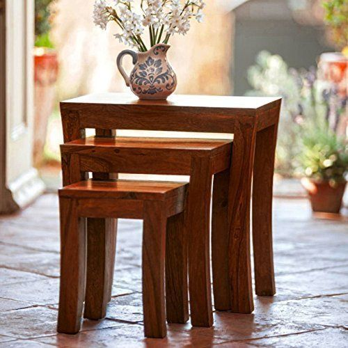 Buy Woodworld Nesting Tables Sheesham Wood Set Of 3 Brown Stools online