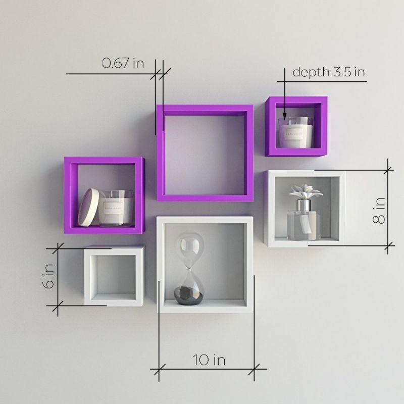brand new 008da cc488 Woodworld Mdf Wall Shelves Nesting Square Shape Set Of 6 Wall Racks Shelves  White, Purple