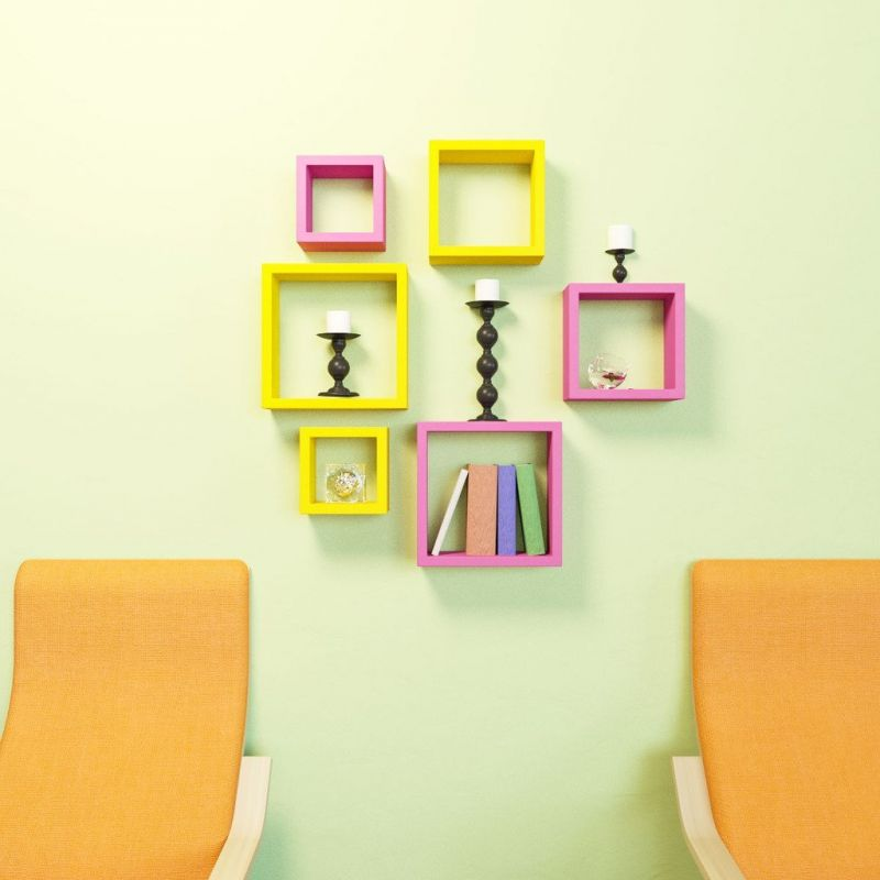 Buy Woodworld Mdf Wall Shelves Nesting Square Shape Set Of 6 Wall Racks Shelves Pink,yellow online
