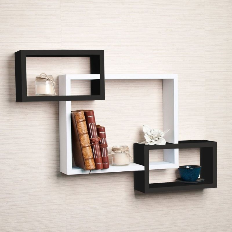 Buy Woodworld Wooden Intersecting Storage Wall Shelves Rack 3 Black, White online