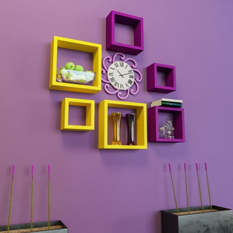 Buy Woodworld Mdf Wall Shelves Nesting Square Shape Set Of 6 Wall Racks Shelves Yellow,purple online