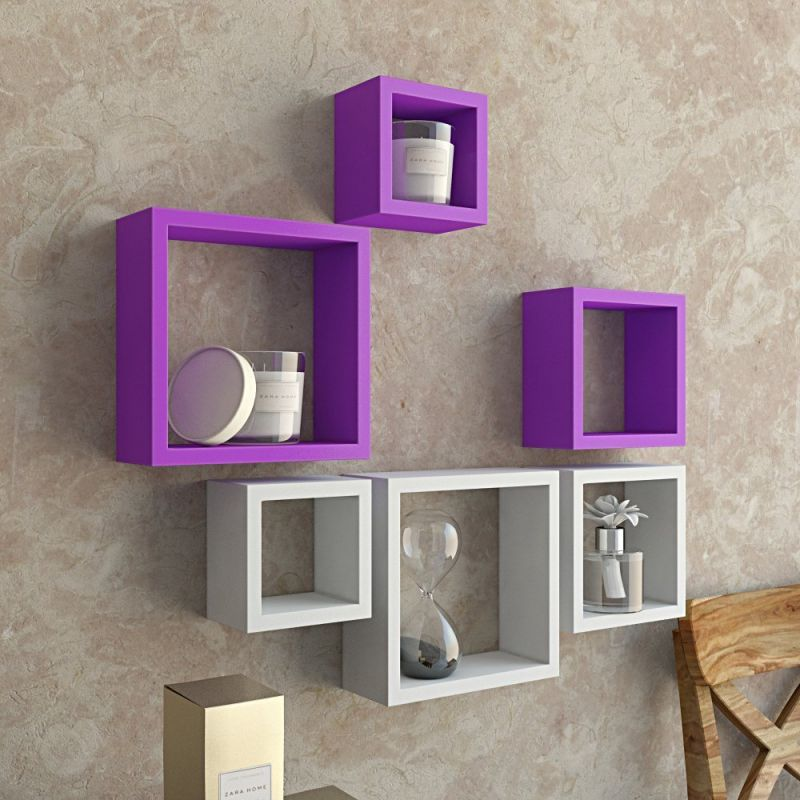 Buy Woodworld Mdf Wall Shelves Nesting Square Shape Set Of 6 Wall Racks Shelves White, Purple online
