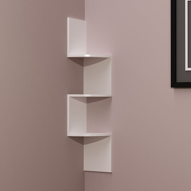 Buy Woodworld Home Deco Wall Shelf Zig Zig Rack Unit - White online