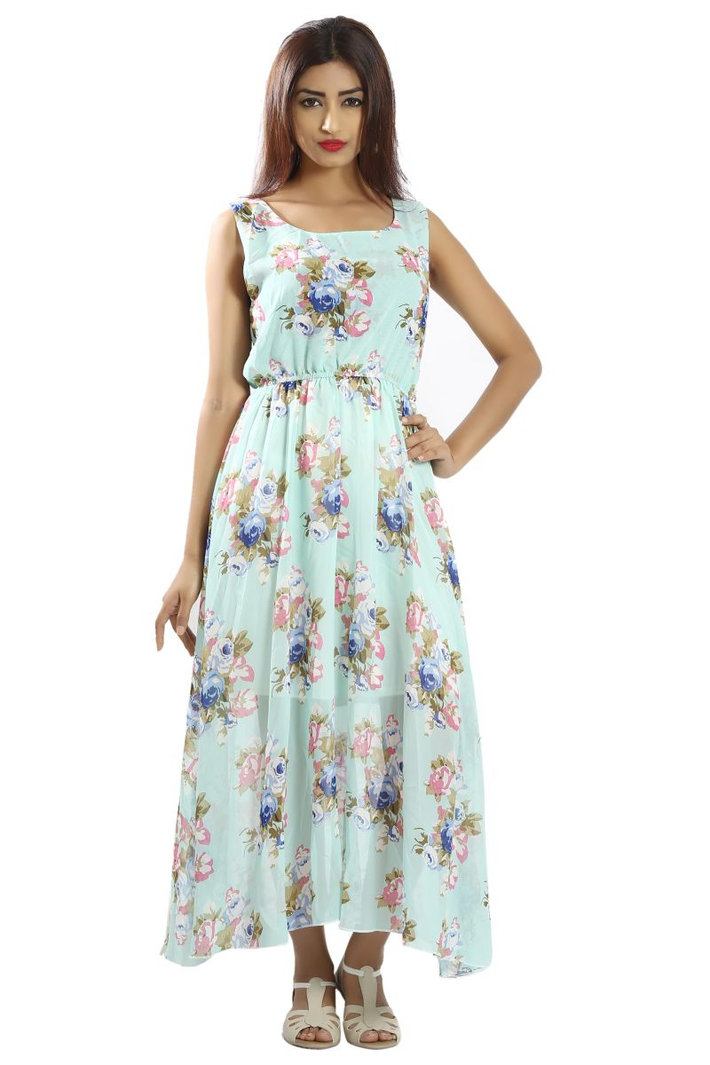 Buy Snob Bee Sky Blue Floral Maxi for Women online