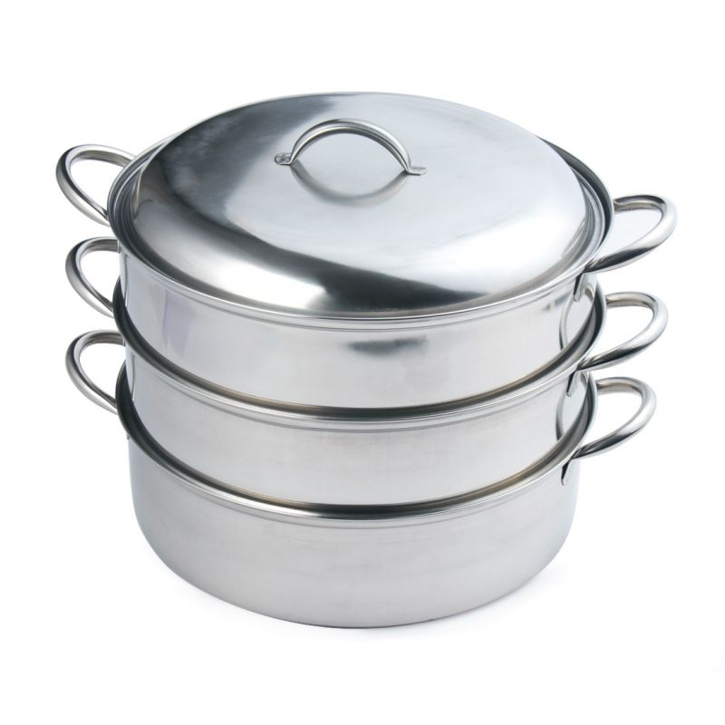 Buy A-plus Induction Base Stainless Steel 3 Tier Multi Purpose Steamer With Lid - 18 Cm online