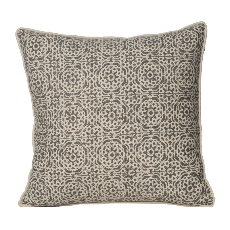Buy Monogram Camel Square Cotton Cushion Cover Hand Printed-5 Pcs Set -Camel online
