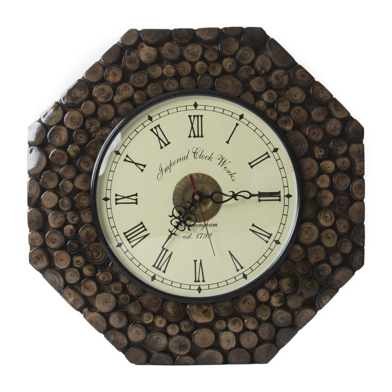 Buy Monogram Decorative Wooden Wall Clock - Natural Color online