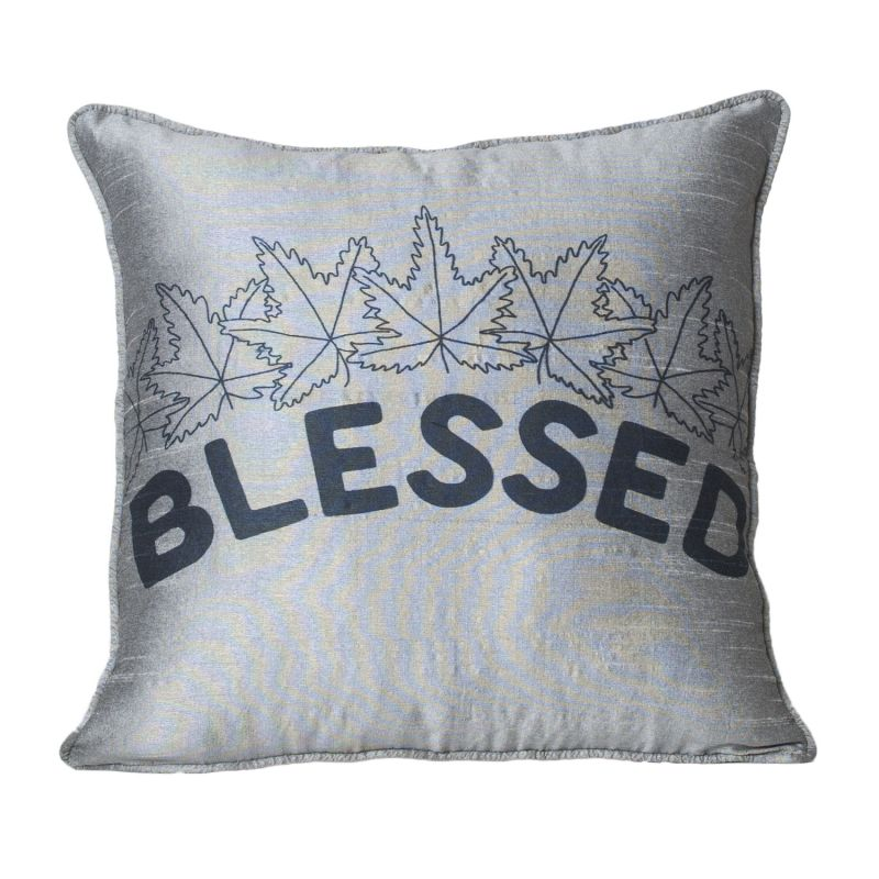 Buy Monogram Grey Square Polyester Cushion Cover Hand Print- 5 Pcs Set -Grey online