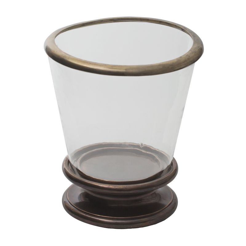 Buy Monogram Aluminium Candle Holder Hurricane Panel - Copper-Glass online