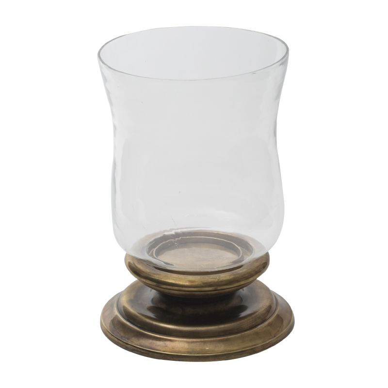 Buy Monogram Aluminium Candle Holder Hurricane Panel - Brass Antique-Glass online