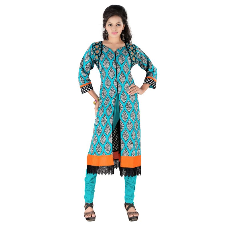 Buy Vedik Style Womens Printed Sky Blue Cotton Kurti with 3/4th Sleeves online