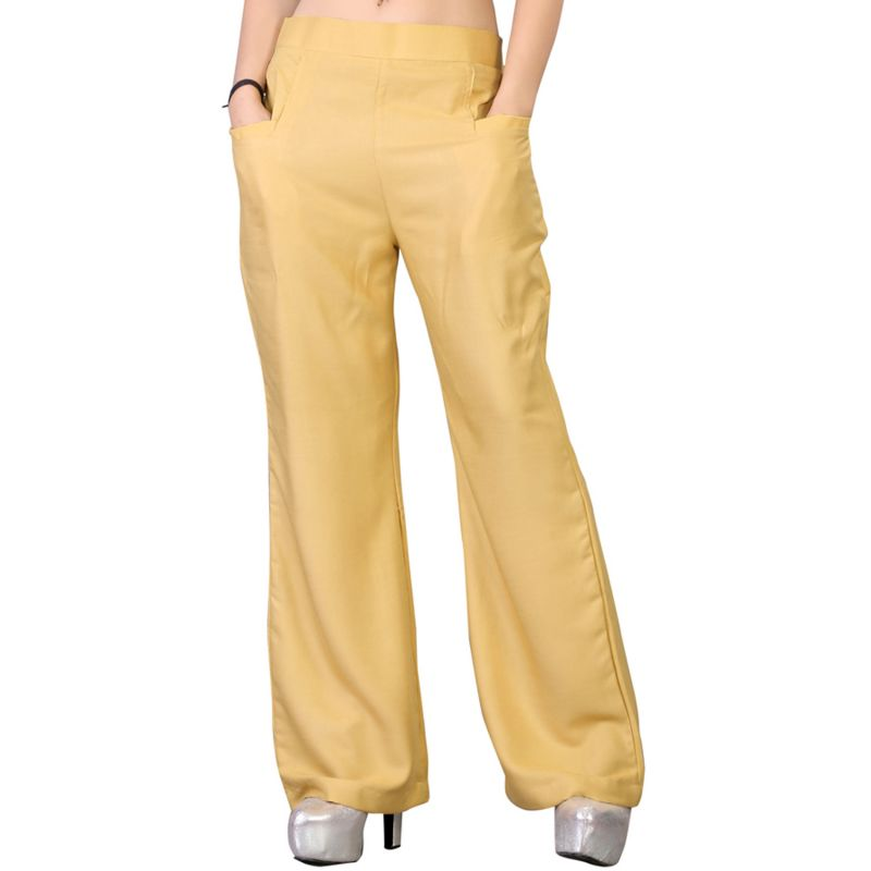 Buy Vedik Style Womens Solid Beige Regular Fit Palazzos online