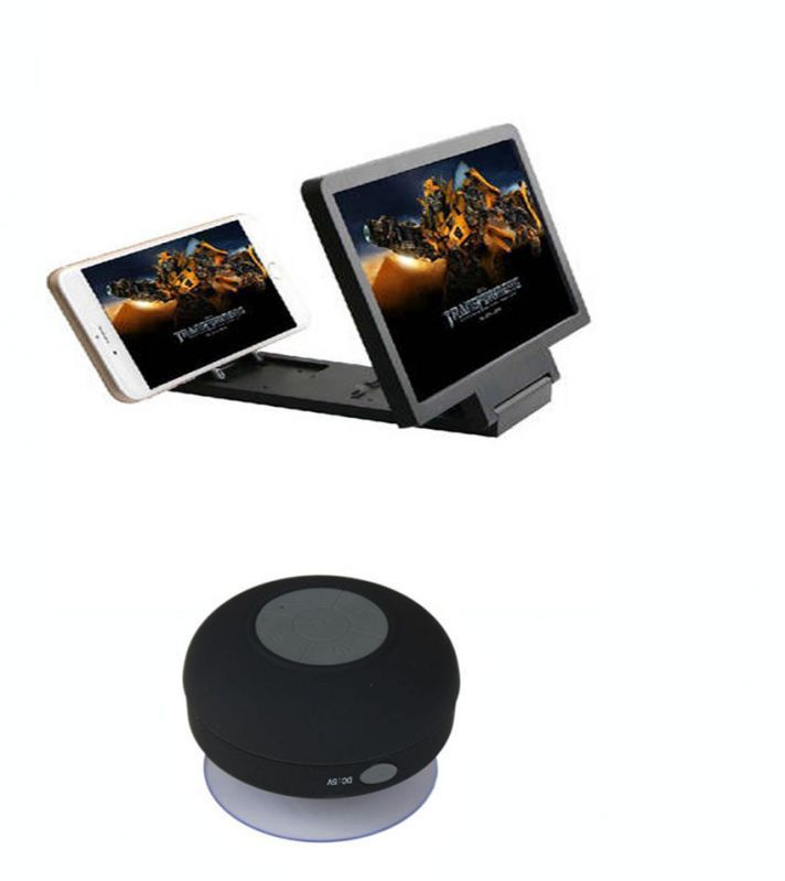 Buy Black Shower Bluetooth Speaker With 3d Folding HD Screen Magnifier online