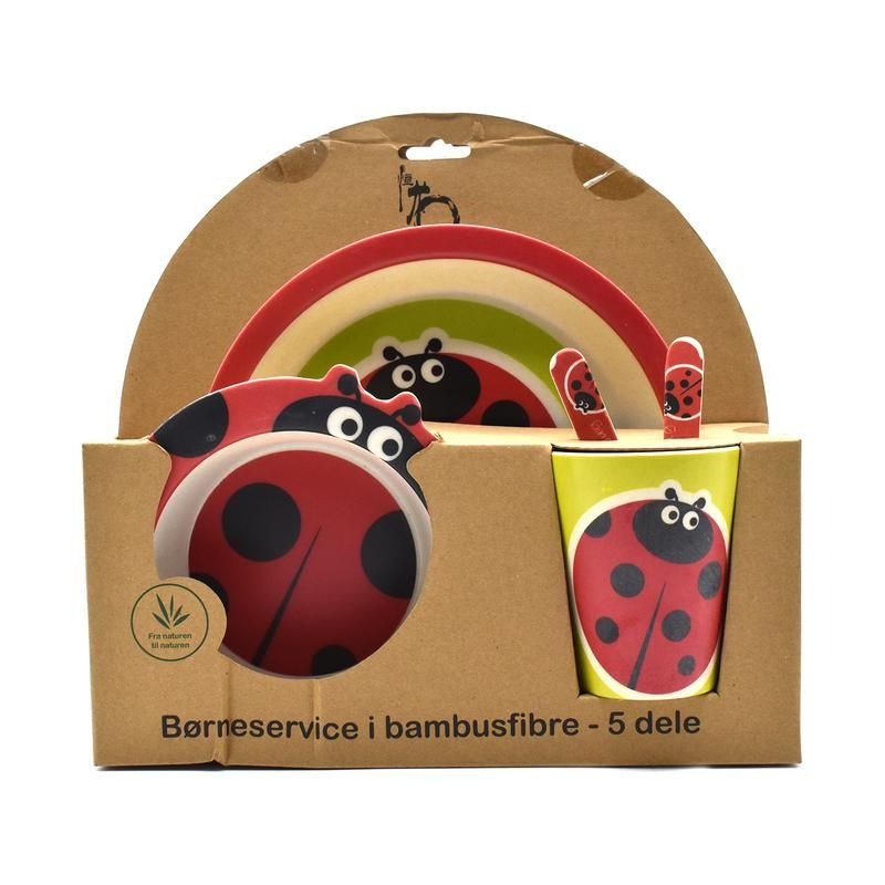 Buy Eco Friendly Bamboo Fiber Kids Feeding Set Of 5 Pieces, Round Plate - Red/ladybug online