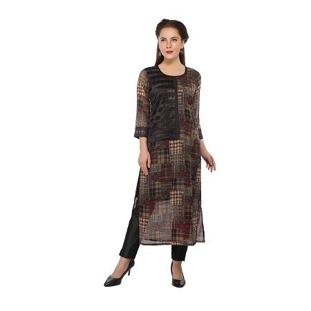 Buy Present Women Brown Cotton Kurti online
