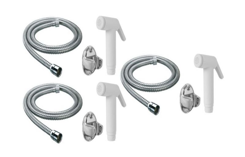 Buy Shoppingekart ABS Ivory Health Faucet With 1 Meter S.S Tube And Wall Hook (Pack of 3) online
