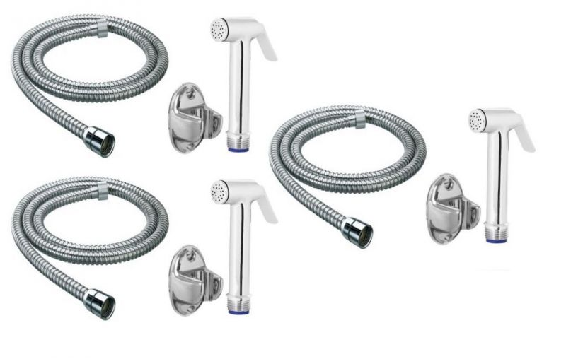 Buy Shoppingekart Sleek Brass Health Faucet With 1 Meter S.S Tube And Wall Hook (Pack of 3) online