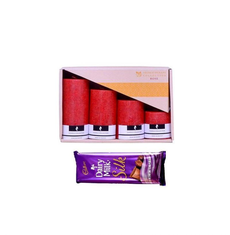 Buy Indigo Creatives Gift Red Rose Scented Candle Set With Cadbury Chocolate online