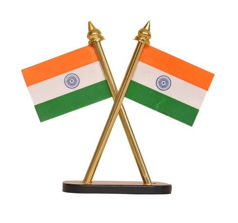 Buy Indigo Creatives Table Top/ Car Panel Inbuilt Official Look Crossed Style Pair Of Indian Flags online