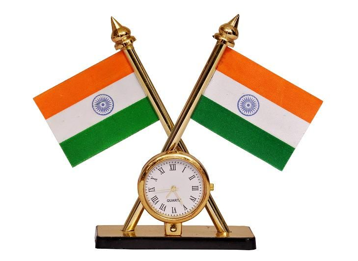 Buy Indigo Creatives Table Top Clock With Two Inbuilt Official Style Crossed Pair Of Indian Flags online