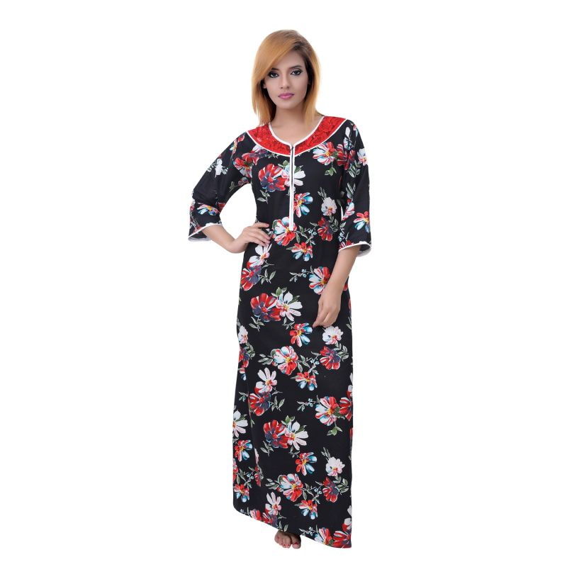 Buy Sleeping Story Women's Fine Cotton Floral Printed Nighty online