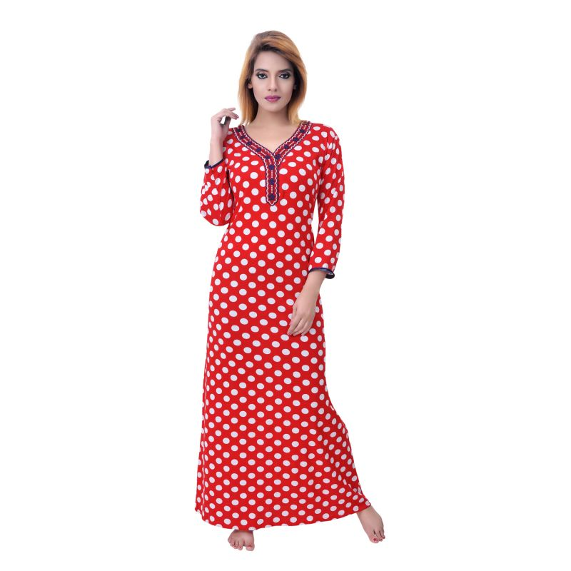 Buy Sleeping Story Women's Jursey Cotton Polka Printed Nighty online