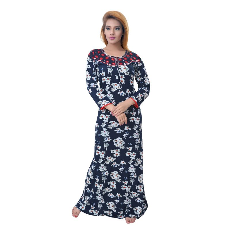 Buy Sleeping Story Women's Jursey Cotton Floral Printed Nighty online