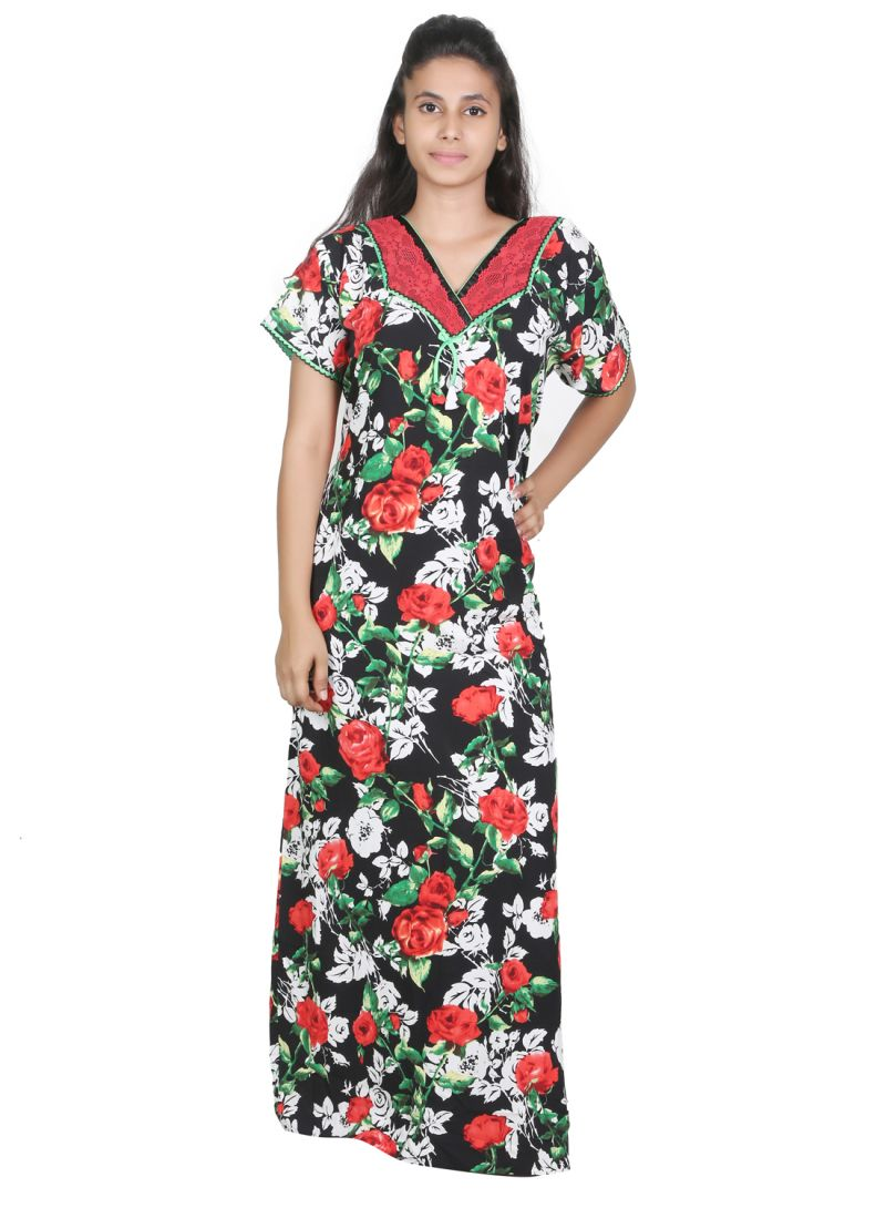 Buy Sleeping Story Rayon Printed Black Nighty For Women(code-20273-a) online