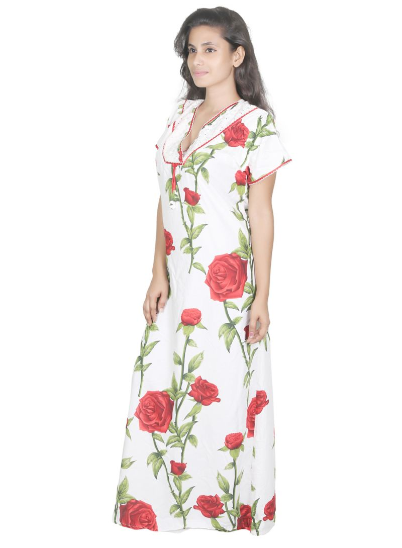 Buy Sleeping Story Cream Printed Rayon Nighty For Women(code-20295-b) online