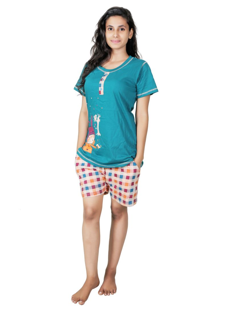 Buy Sleeping Story Green Cotton Nightsuit For Women(code-30056-xl) online