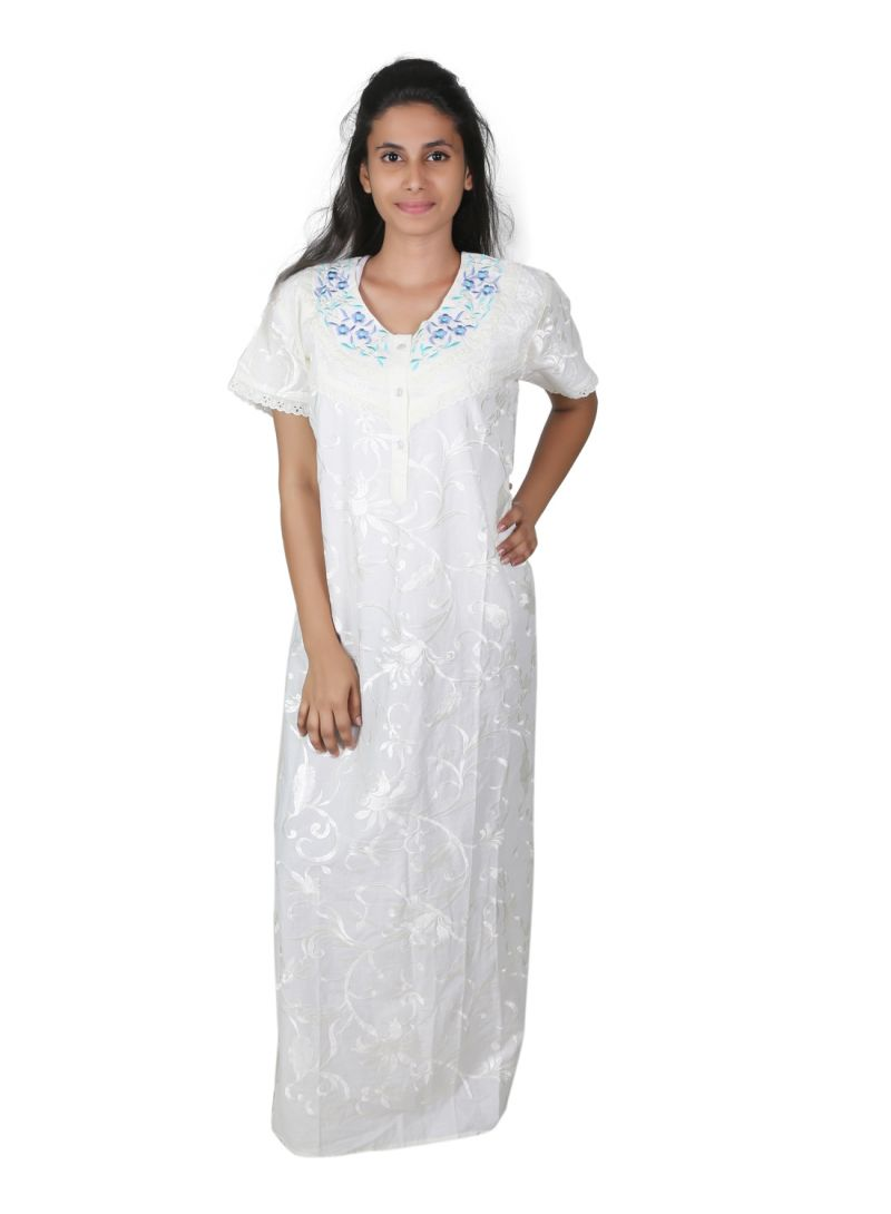 Buy Sleeping Story Free Size White Printed Nighty For Women(code-5012-d) online