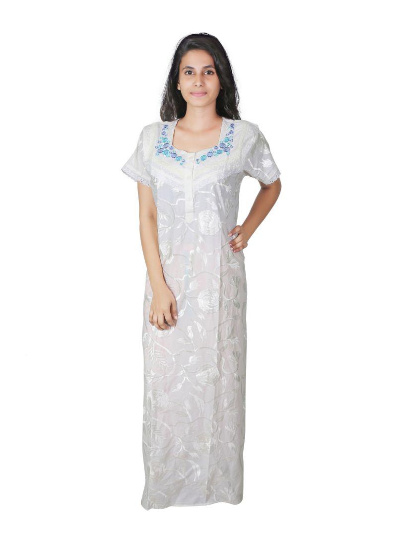 Buy Sleeping Story Cotton White Long Nighty For Women(code-5013-b ... a892c8b3b