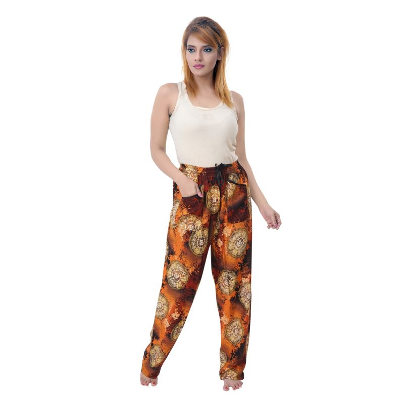 Buy Sleeping Story Womens Orange Poly Cotton Printed Pyjamas online